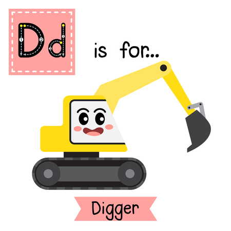 Ilustración de Letter D cute children colorful transportations alphabet tracing flashcard of Digger for kids learning English vocabulary Vector Illustration. - Imagen libre de derechos