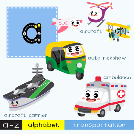 Ilustración de Letter A lowercase children colorful transportations ABC alphabet tracing flashcard for kids learning English vocabulary and handwriting Vector Illustration. - Imagen libre de derechos