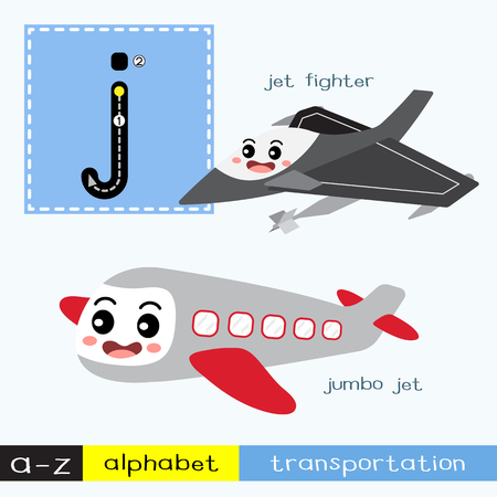 Ilustración de Letter J lowercase children colorful transportations ABC alphabet tracing flashcard for kids learning English vocabulary and handwriting Vector Illustration. - Imagen libre de derechos