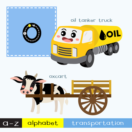 Ilustración de Letter O lowercase children colorful transportations ABC alphabet tracing flashcard for kids learning English vocabulary and handwriting Vector Illustration. - Imagen libre de derechos