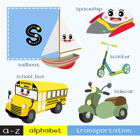 Ilustración de Letter S lowercase children colorful transportations ABC alphabet tracing flashcard for kids learning English vocabulary and handwriting Vector Illustration. - Imagen libre de derechos