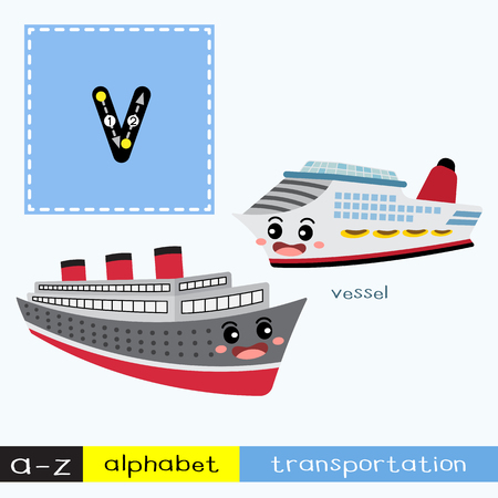 Ilustración de Letter V lowercase children colorful transportations ABC alphabet tracing flashcard for kids learning English vocabulary and handwriting Vector Illustration. - Imagen libre de derechos