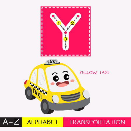 Ilustración de Letter Y uppercase children colorful transportations ABC alphabet tracing flashcard for kids learning English vocabulary and handwriting Vector Illustration. - Imagen libre de derechos