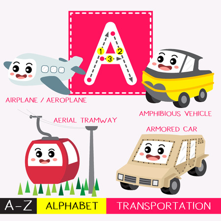 Ilustración de Letter A uppercase children colorful transportations ABC alphabet tracing flashcard for kids learning English vocabulary and handwriting Vector Illustration. - Imagen libre de derechos