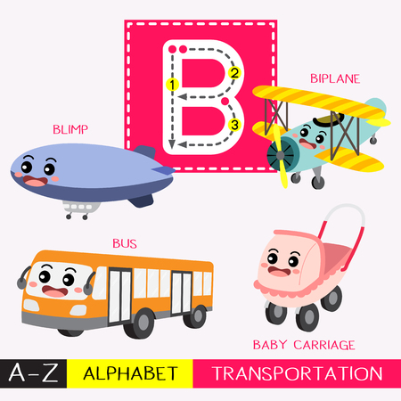 Ilustración de Letter B uppercase children colorful transportations ABC alphabet tracing flashcard for kids learning English vocabulary and handwriting Vector Illustration. - Imagen libre de derechos