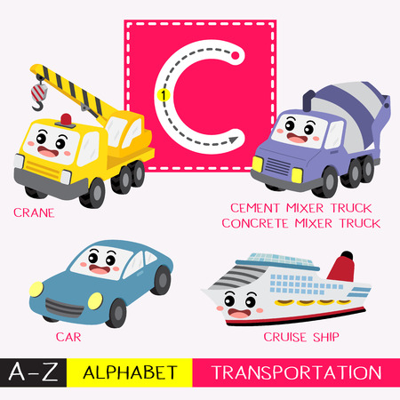 Ilustración de Letter C uppercase children colorful transportations ABC alphabet tracing flashcard for kids learning English vocabulary and handwriting Vector Illustration. - Imagen libre de derechos