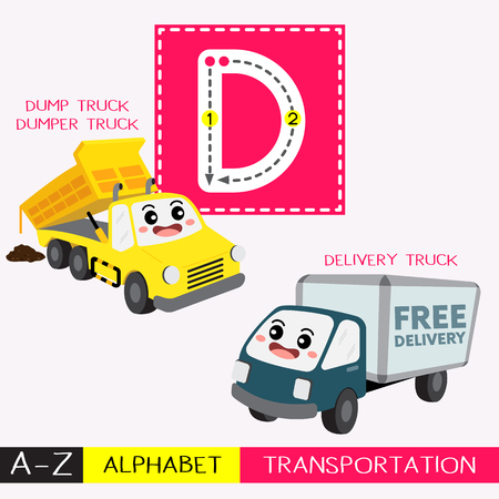 Ilustración de Letter D uppercase children colorful transportations ABC alphabet tracing flashcard for kids learning English vocabulary and handwriting Vector Illustration. - Imagen libre de derechos