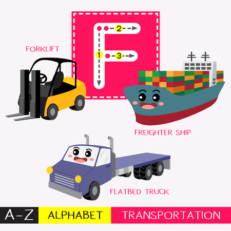 Ilustración de Letter F uppercase children colorful transportations ABC alphabet tracing flashcard for kids learning English vocabulary and handwriting Vector Illustration. - Imagen libre de derechos