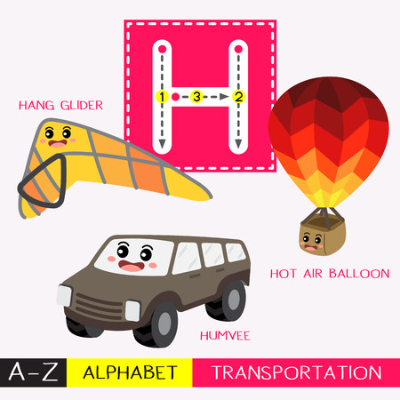 Ilustración de Letter H uppercase children colorful transportations ABC alphabet tracing flashcard for kids learning English vocabulary and handwriting Vector Illustration. - Imagen libre de derechos