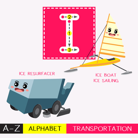 Ilustración de Letter I uppercase children colorful transportations ABC alphabet tracing flashcard for kids learning English vocabulary and handwriting Vector Illustration. - Imagen libre de derechos