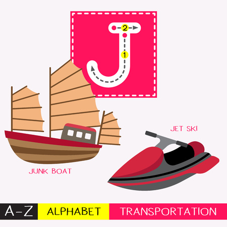 Ilustración de Letter J uppercase children colorful transportations ABC alphabet tracing flashcard for kids learning English vocabulary and handwriting Vector Illustration. - Imagen libre de derechos