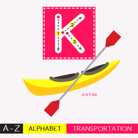 Ilustración de Letter K uppercase children colorful transportations ABC alphabet tracing flashcard for kids learning English vocabulary and handwriting Vector Illustration. - Imagen libre de derechos