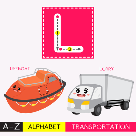 Ilustración de Letter L uppercase children colorful transportations ABC alphabet tracing flashcard for kids learning English vocabulary and handwriting Vector Illustration. - Imagen libre de derechos