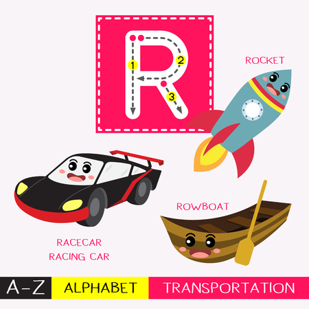 Ilustración de Letter R uppercase children colorful transportations ABC alphabet tracing flashcard for kids learning English vocabulary and handwriting Vector Illustration. - Imagen libre de derechos
