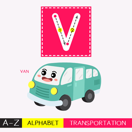 Ilustración de Letter V uppercase children colorful transportations ABC alphabet tracing flashcard for kids learning English vocabulary and handwriting Vector Illustration. - Imagen libre de derechos