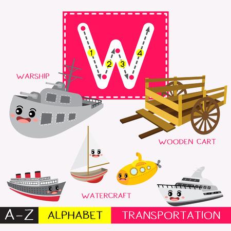 Ilustración de Letter W uppercase children colorful transportations ABC alphabet tracing flashcard for kids learning English vocabulary and handwriting Vector Illustration. - Imagen libre de derechos