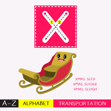 Ilustración de Letter X uppercase children colorful transportations ABC alphabet tracing flashcard for kids learning English vocabulary and handwriting Vector Illustration. - Imagen libre de derechos