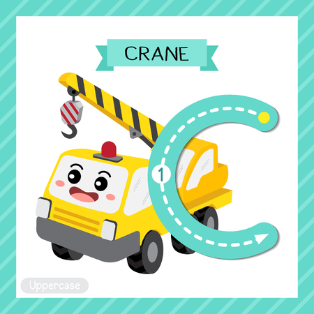 Ilustración de Letter C uppercase cute children colorful transportations ABC alphabet tracing flashcard of Crane for kids learning English vocabulary and handwriting Vector Illustration. - Imagen libre de derechos