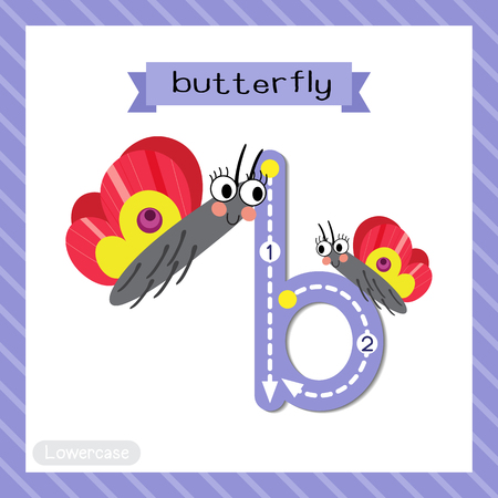 Ilustración de Letter B lowercase cute children colorful zoo and animals ABC alphabet tracing flashcard of Butterfly for kids learning English vocabulary and handwriting vector illustration. - Imagen libre de derechos