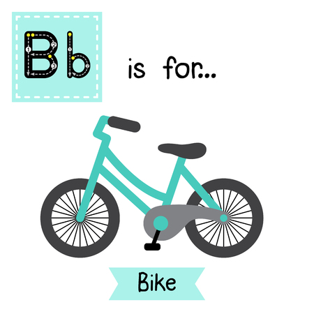 Ilustración de Letter B cute children colorful transportations ABC alphabet tracing flashcard of Bike for kids learning English vocabulary Vector Illustration. - Imagen libre de derechos