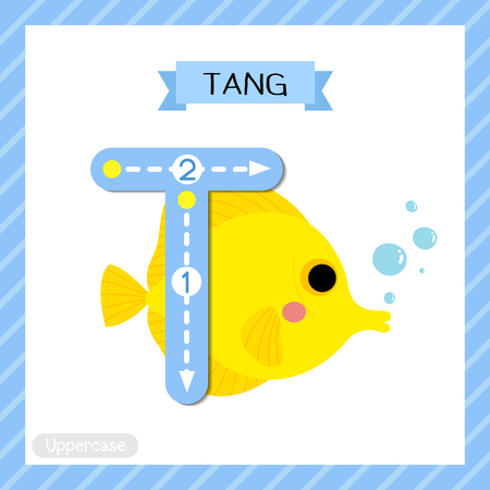 Ilustración de Letter T uppercase cute children colorful zoo and animals ABC alphabet tracing flashcard of Yellow Tang fish for kids learning English vocabulary and handwriting vector illustration. - Imagen libre de derechos