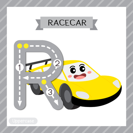 Ilustración de Letter R uppercase cute children colorful transportations ABC alphabet tracing flashcard of Racecar for kids learning English vocabulary and handwriting Vector Illustration. - Imagen libre de derechos
