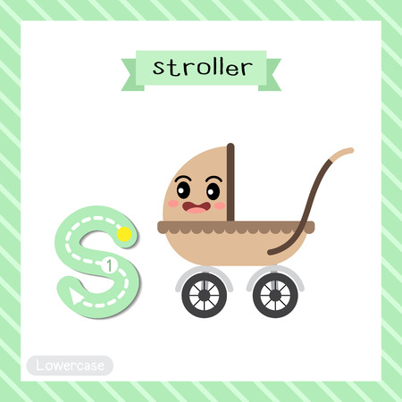 Ilustración de Letter S lowercase cute children colorful transportations ABC alphabet tracing flashcard of Stroller for kids learning English vocabulary and handwriting Vector Illustration. - Imagen libre de derechos