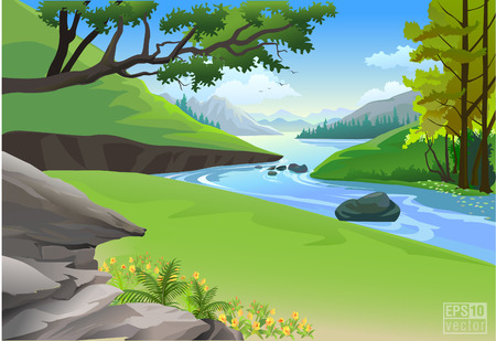 Illustration pour Riverside Hills and Rock nature landscape - image libre de droit