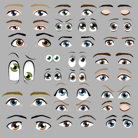 Illustrazione per Cartoon eyes vector set - Immagini Royalty Free