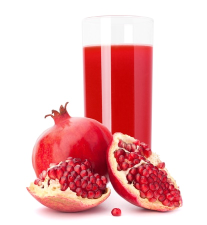 Photo pour Pomegranate fruit juice in glass isolated on white background cutout - image libre de droit
