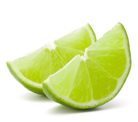 Photo pour Citrus lime fruit segment isolated on white - image libre de droit