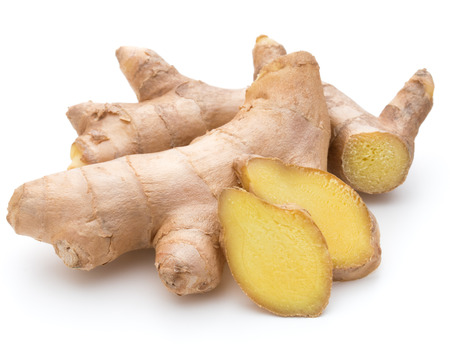 Foto de Fresh ginger root or rhizome isolated on white background cutout - Imagen libre de derechos