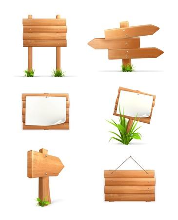 Illustration pour Wooden signs set - image libre de droit