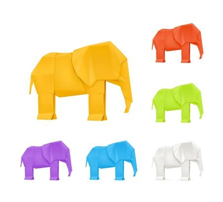 Origami elephants, set
