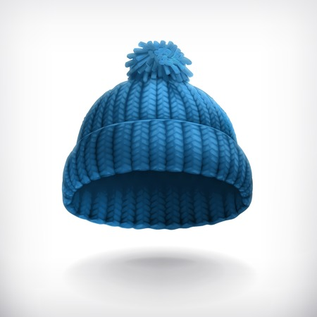 Illustration for Knitted blue cap illustration - Royalty Free Image