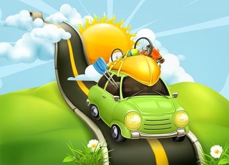 Photo pour Traveling by car, vector illustration - image libre de droit