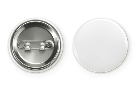 Illustration for Blank white badge, vector realistic illustration - Royalty Free Image