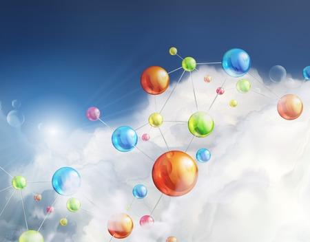 Illustration pour Futuristic background with molecules, illustration - image libre de droit