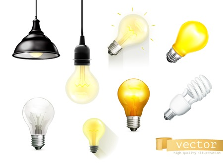 Illustrazione per Light bulbs, set of vector icons - Immagini Royalty Free