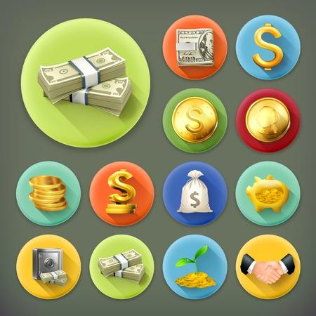 Illustration pour Money and coins, business and finance long shadow vector icon set - image libre de droit