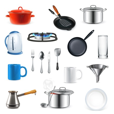 Illustration pour Kitchen utensils, vector set - image libre de droit