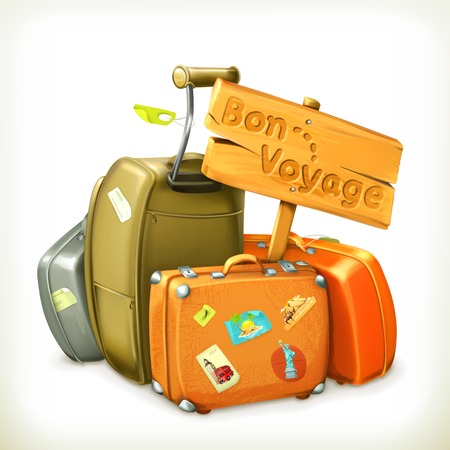 Illustration for Bon voyage word travel icon - Royalty Free Image