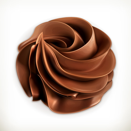 Illustration for Chocolate whipped cream, vector icon - Royalty Free Image