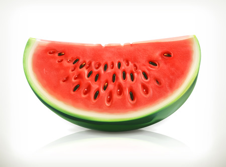 Ilustración de Slice of watermelon, summer fruit, vector icon - Imagen libre de derechos