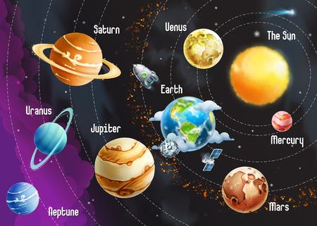 Illustration pour Solar system of planets, vector illustration horizontal - image libre de droit