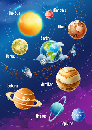 Illustration pour Solar system of planets, vector illustration vertical - image libre de droit