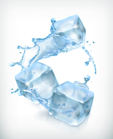 Illustration for Ice cubes and a splash of water, cocktail vector illustration - Royalty Free Image