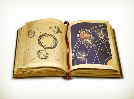 Ilustración de Old book, astrology vector icon - Imagen libre de derechos