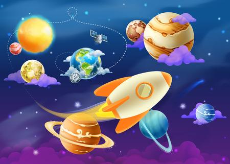 Ilustración de Solar system of planets, vector illustration - Imagen libre de derechos