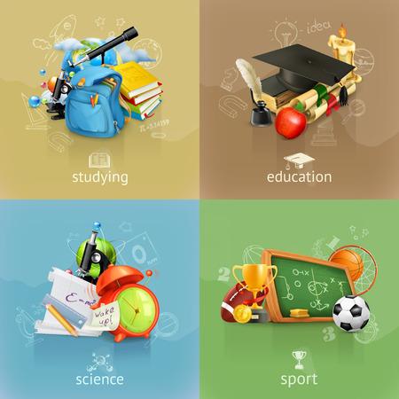 Photo pour School concepts, vector set - image libre de droit